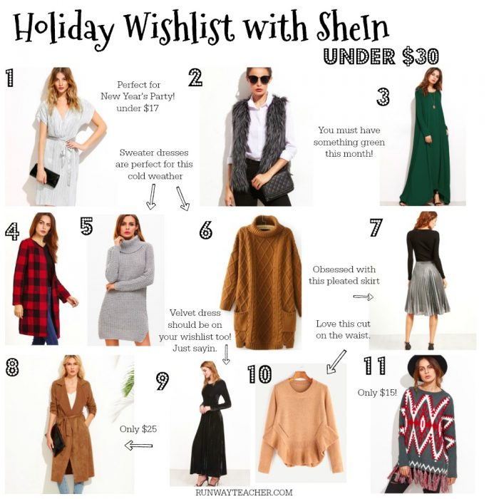 Holiday Wishlist with SheIn -under $30