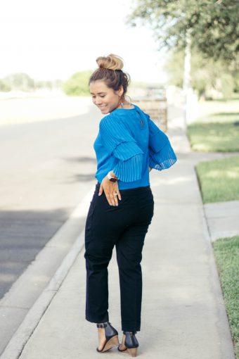 Blue Ruffle Top; Teacher Outfit