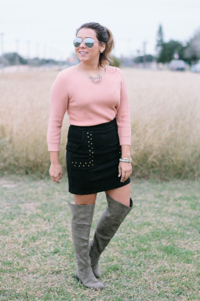 Suede Skirt with OTK Boots