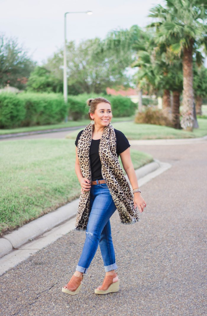 Leopard Scarf with Black Tee