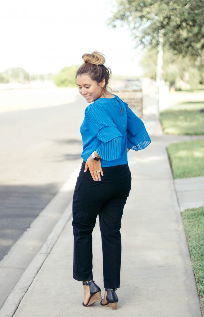 Blue Ruffle Top; Teacher Outfit