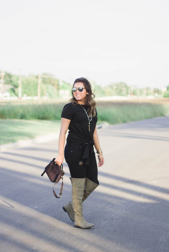 Black Front Knot Tee