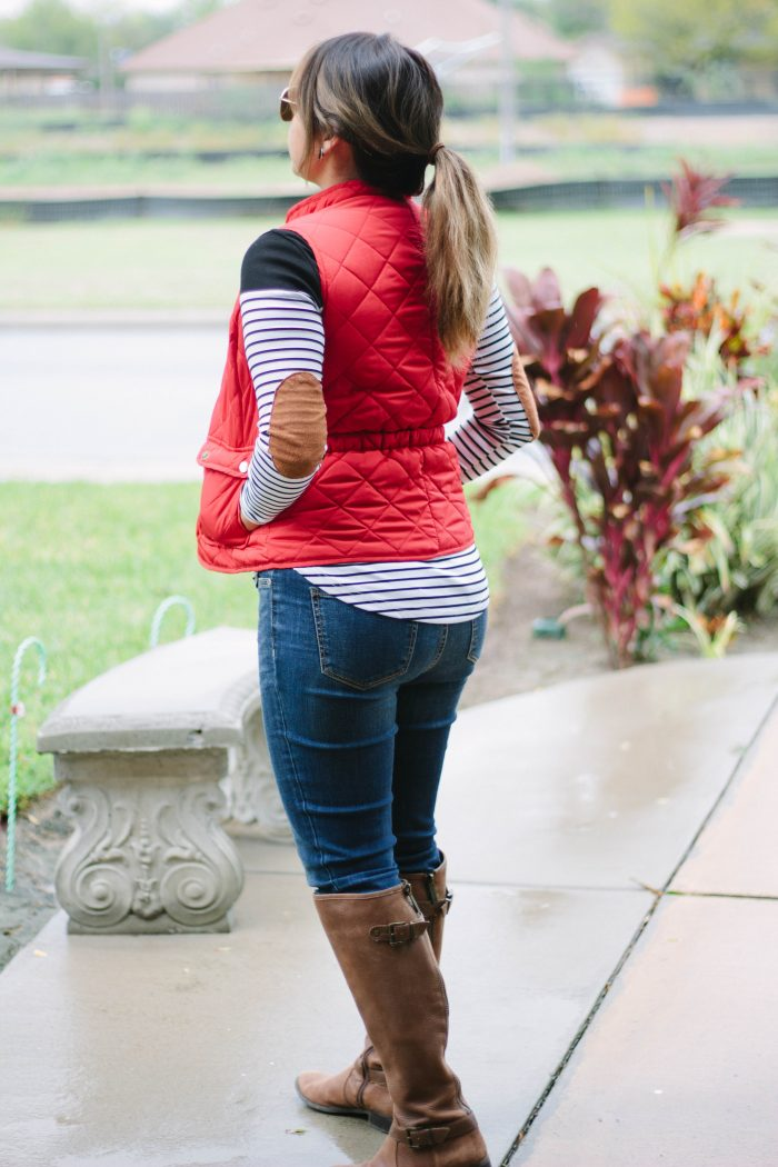 Stripes and Red Puffer Vest