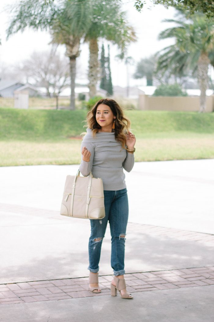 Off the Shoulder Grey Sweater